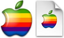 MacOS 9時代までの6色林檎を左右逆にしたアイコン