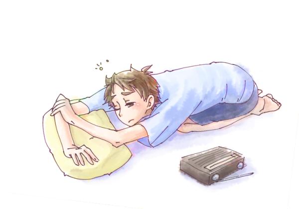 少年寝落ち起き