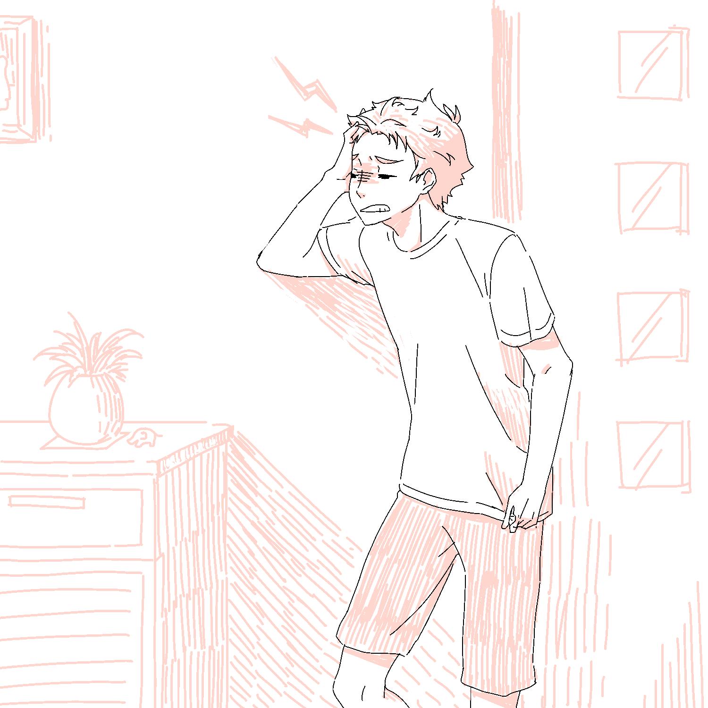 爽やかな朝の寝不足による頭痛