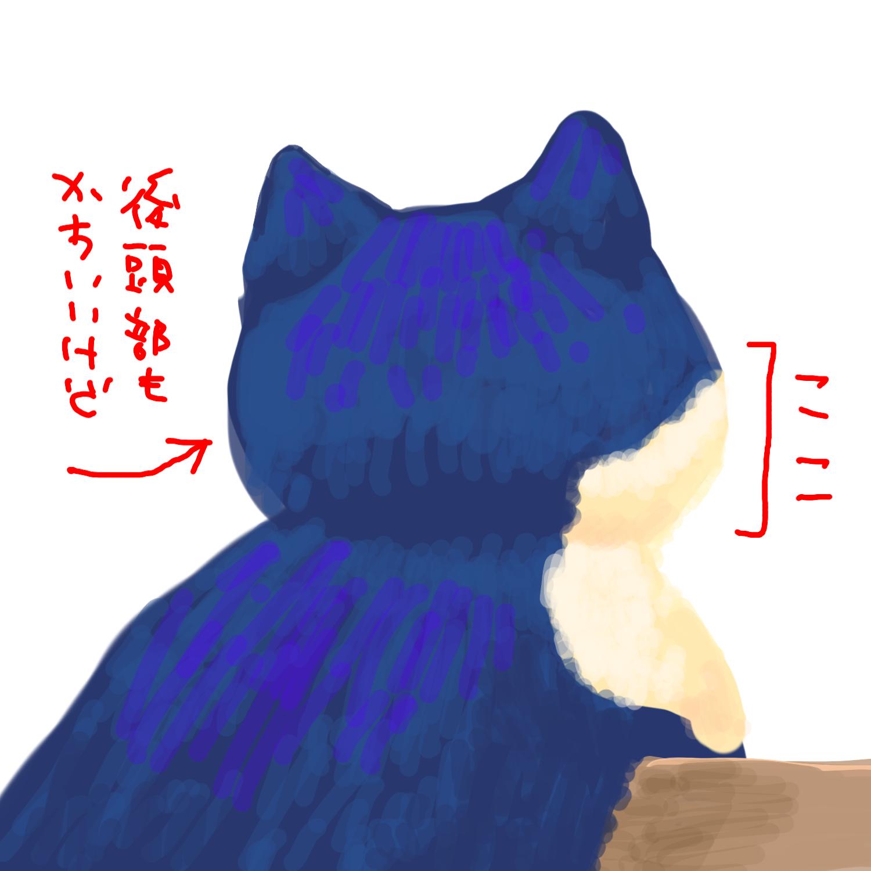 首輪をしている猫は首の毛が上方向に持ち上がるので、後ろから見るとほっぺたが丸くてキャワイイ