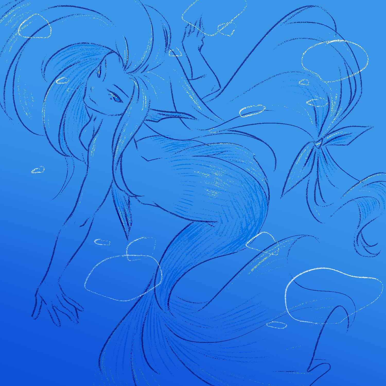 大きい曲線を描きたいときは人魚を描きがち