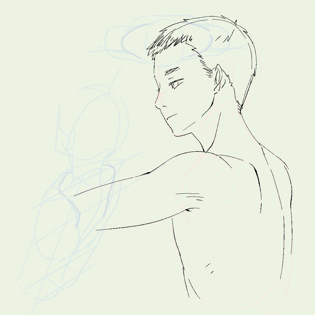鎖骨と肩甲骨って繋がってるから、腕あげたらここがくぼむって確認しながら描いたら全然違うとこ確認してた